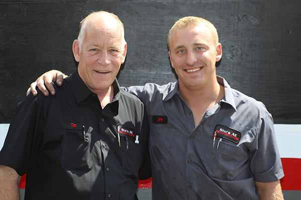 Tim Giffin owner of Stu's Transmission and son Jake